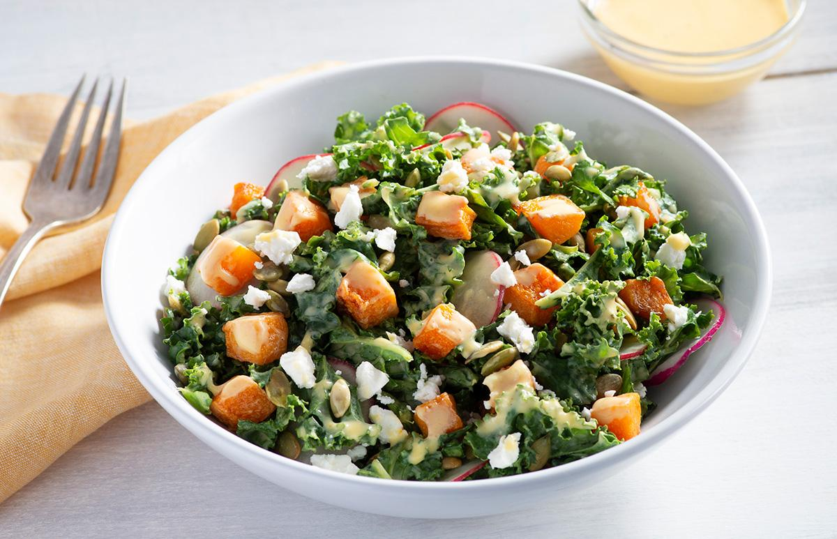 Butternut Squash and Kale Salad with Feta Cheese Recipe Photo